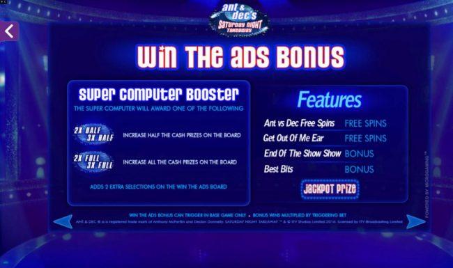 Ant & Dec's Saturday Night Takeaway :: Win the ads Bonus Rules