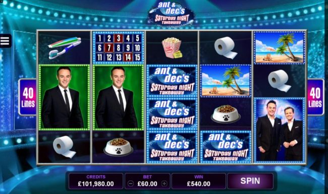 Money Reels featuring the Video Slots Ant & Dec's Saturday Night Takeaway with a maximum payout of $1,575,000