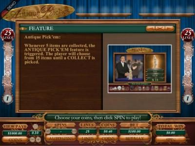 Royal Panda featuring the Video Slots Antique Riches  with a maximum payout of 1000x