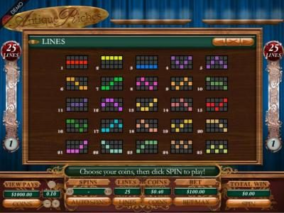 Coral featuring the Video Slots Antique Riches  with a maximum payout of 1000x