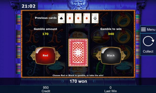 Gamble Feature - To gamble any win press Gamble then select Red or Black