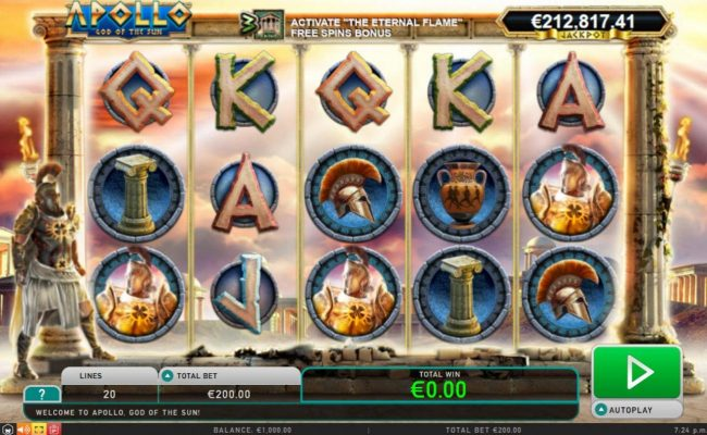 Slot Planet featuring the Video Slots Apollo God of the Sun with a maximum payout of Jackpot