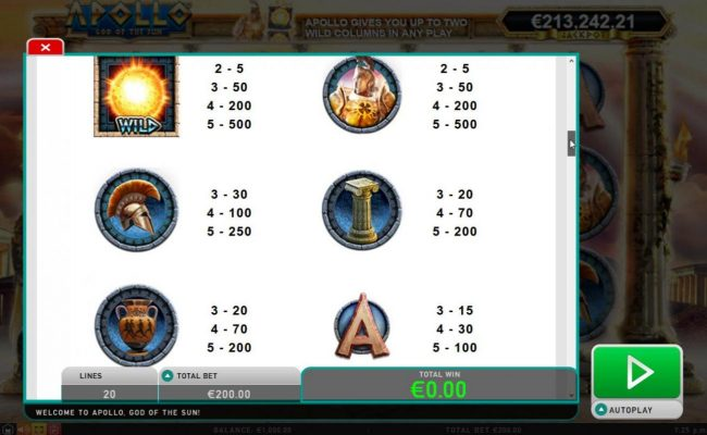 Jackpot Paradise featuring the Video Slots Apollo God of the Sun with a maximum payout of Jackpot