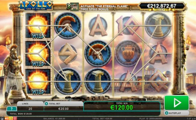 Play Hippo featuring the Video Slots Apollo God of the Sun with a maximum payout of Jackpot