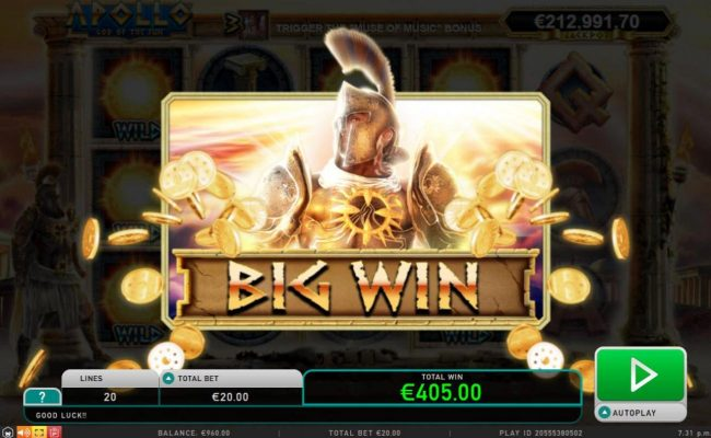 Guts featuring the Video Slots Apollo God of the Sun with a maximum payout of Jackpot