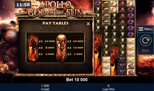 Casumo featuring the Video Slots Apollo God of the Sun with a maximum payout of $50,000