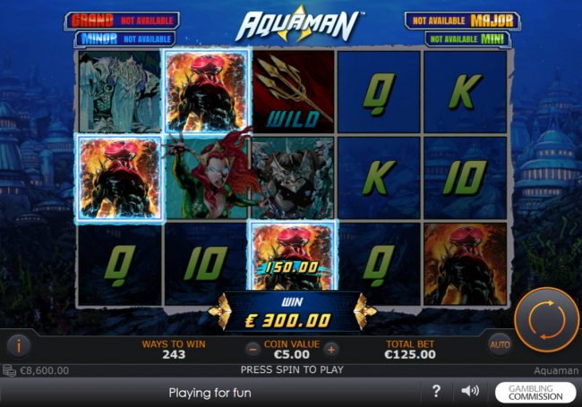 Club 777 featuring the Video Slots Aquaman with a maximum payout of $10,000