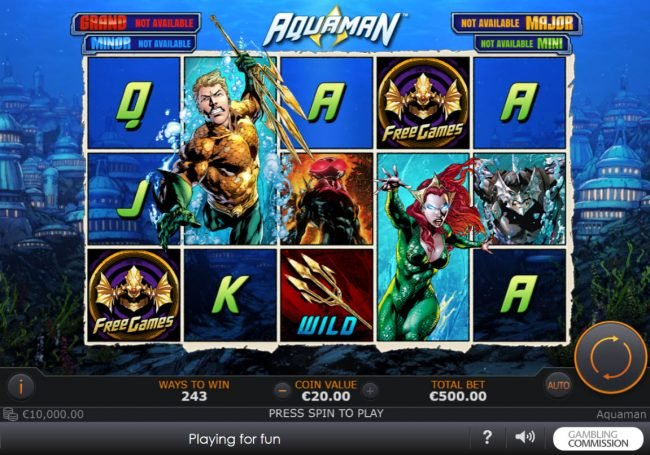 Casino.DK featuring the Video Slots Aquaman with a maximum payout of $10,000