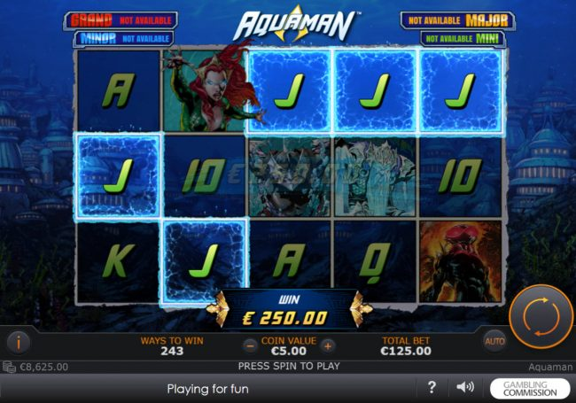 Omni featuring the Video Slots Aquaman with a maximum payout of $10,000