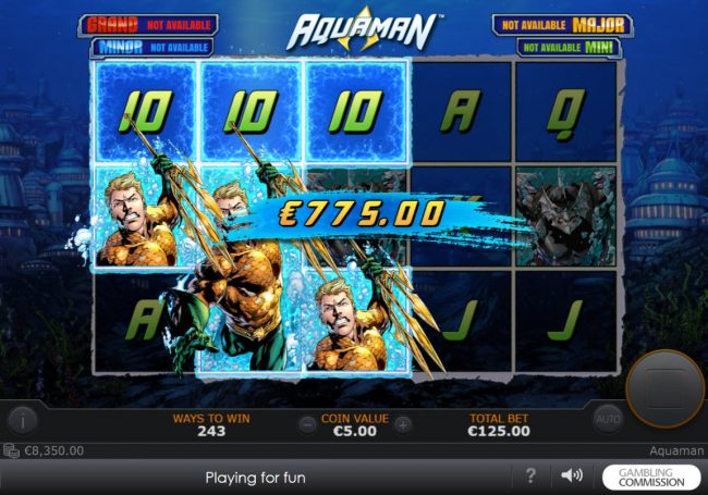 Noble featuring the Video Slots Aquaman with a maximum payout of $10,000