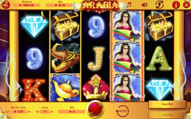 Arabia :: Main game board featuring five reels and 10 paylines with a $45,000 max payout.