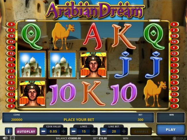 Play slots at Campeon: Campeon featuring the Video Slots Arabian Dream with a maximum payout of $112,500