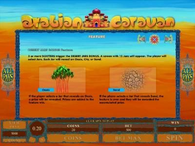 Desert Jars Bonus Feature rules and how to play.