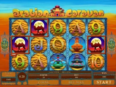 Joy Casino featuring the Video Slots Arabian Caravan with a maximum payout of $5,000