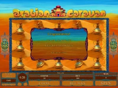 The Desert Jars Bonus Feature awards a total of 5000 coins for a big win!