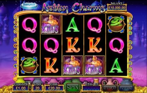 Powerspins featuring the Video Slots Arabian Charms with a maximum payout of $250,000