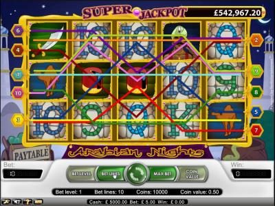 Playamo featuring the Video Slots Arabian Nights with a maximum payout of $5,000