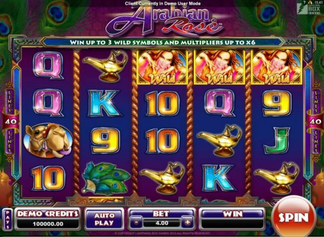 Grand Ivy featuring the Video Slots Arabian Rose with a maximum payout of $800