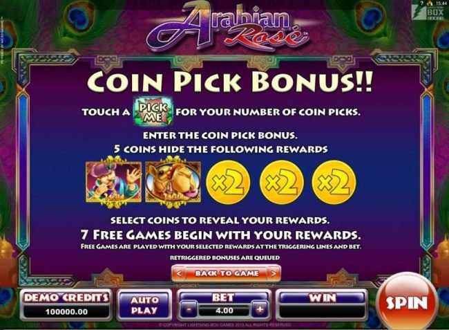 Arabian Rose :: Coin Pick Bonus - Touch a Pick Me for your number of coin picks. Enter the coin pick bonus. 5 coins hide the following rewards. 7 free games begin with your rewards.