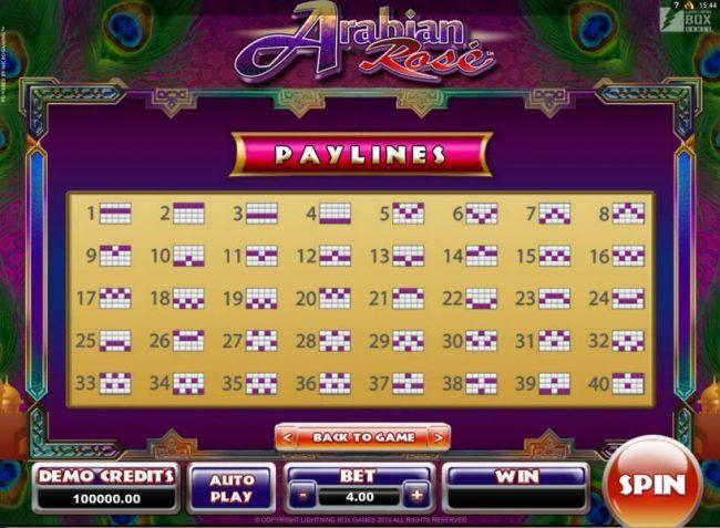 Arabian Rose :: Payline Diagrams 1-40