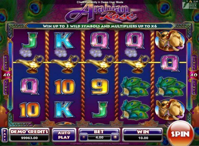 Arabian Rose :: Four of a kind triggers a modest jackpot