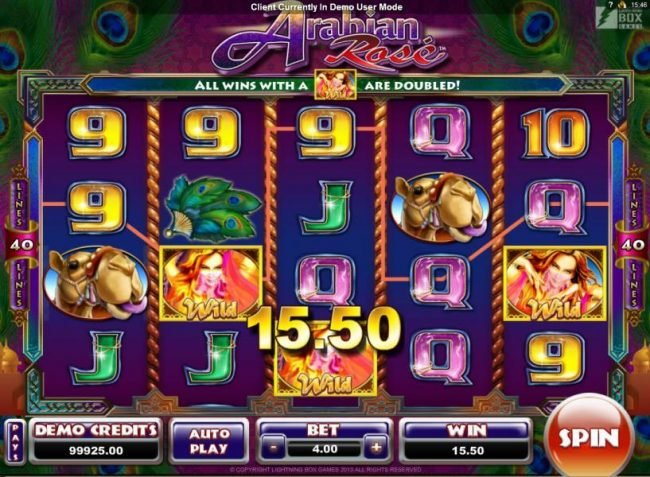 Lucky Me Slots featuring the Video Slots Arabian Rose with a maximum payout of $800
