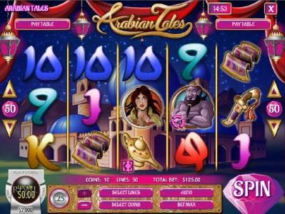 Casino Royal Club featuring the Video Slots Arabian Tales with a maximum payout of $187,500