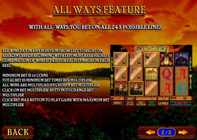 AdamEve featuring the Video Slots Archer with a maximum payout of $3,750