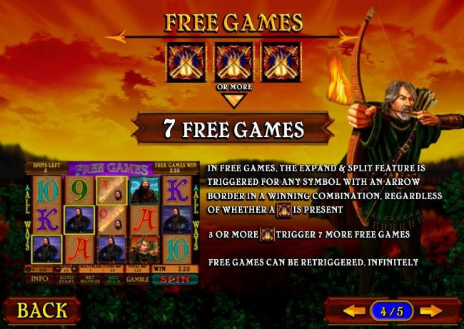 Free Games - Three or more Flaming Arrow symbols triggers 7 Free Games.