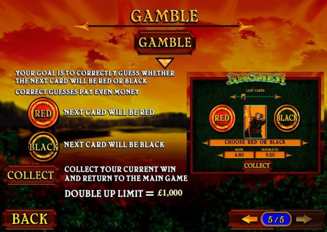 Gamble Feature - Your goal is to correctly guess whether the next card will be red or black.