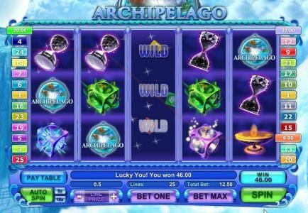 expanding wild triggers a 46 coin jackpot