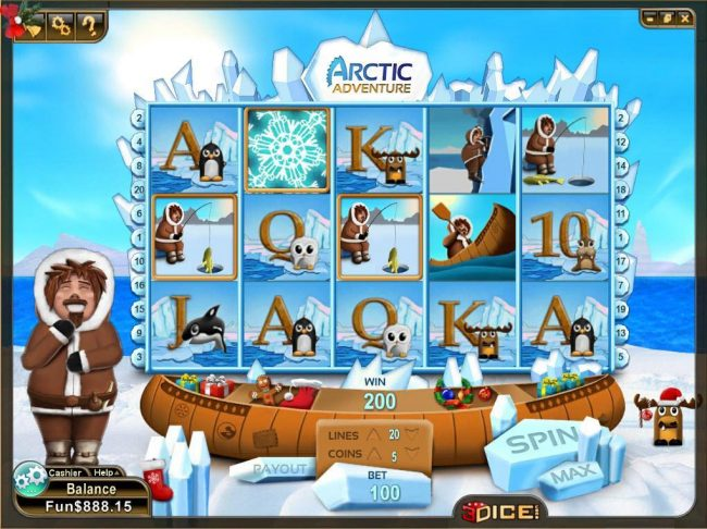 3Dice featuring the Video Slots Arctic Adventure with a maximum payout of $1,250