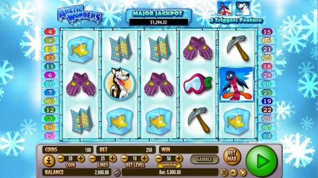 CryptoWild featuring the Video Slots Arctic Wonders with a maximum payout of $2,000,000