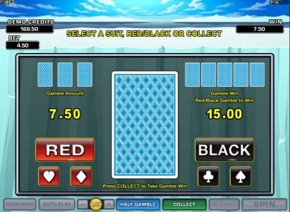double-up gamble feature - select a suit, red/black or collect