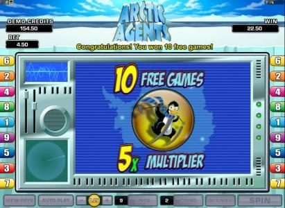 10 free games with a x5 multiplier have been awarded