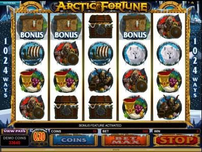 Casino Action featuring the Video Slots Arctic Fortune with a maximum payout of $3,000