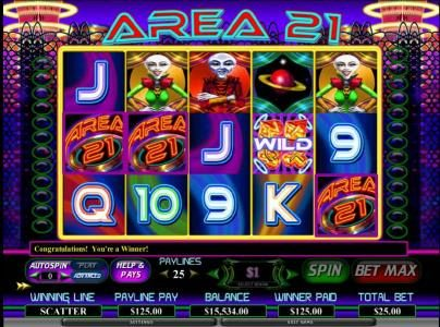 Caesars featuring the Video Slots Area 21 with a maximum payout of $80,000