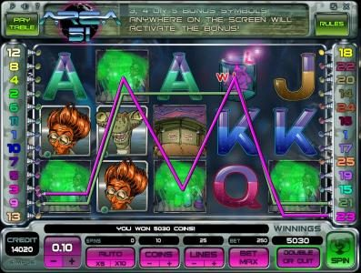 Casdep featuring the Video Slots Area 51 with a maximum payout of $10,000