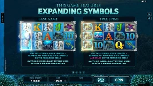 The game features expanding symbols during base game and free spins play. Any full stack on reel 1 expands all matching high symbols on remaining reels