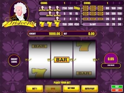 Aristocrat :: main game board featuring three reels and a single payline. win up to 3000 coins when you bet 3 coins