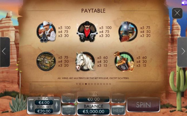 Coral featuring the Video Slots Arizona Treasure with a maximum payout of $4,000