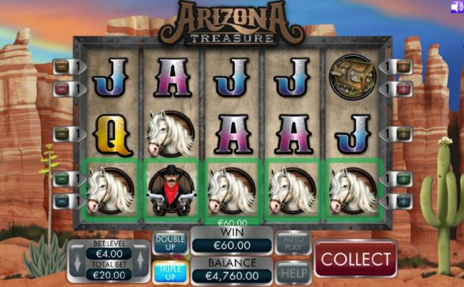 Omnia featuring the Video Slots Arizona Treasure with a maximum payout of $4,000