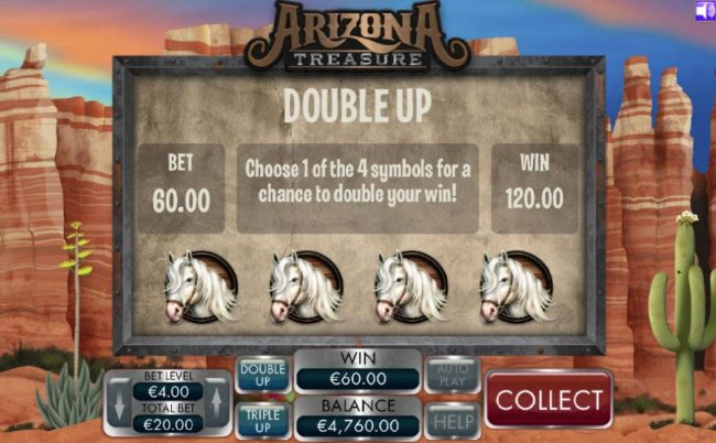 Double Up - Choose 1 of the 4 symbols for a chance to double your win!
