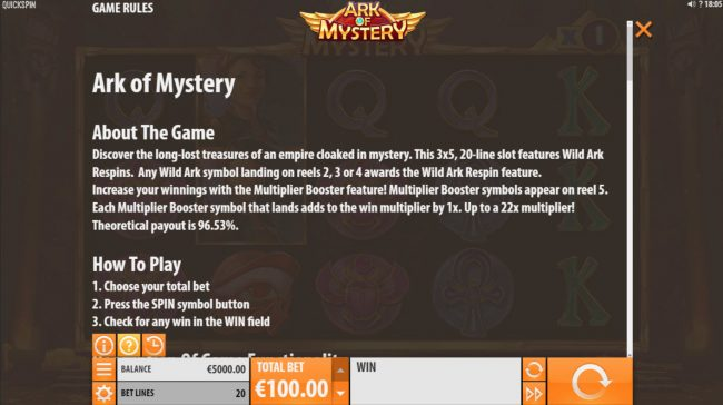 Play slots at Ego Casino: Ego Casino featuring the Video Slots Ark of Mystery with a maximum payout of $100,000