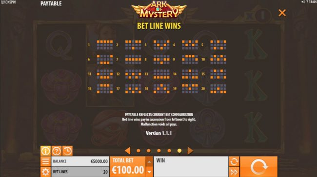 Tivoli featuring the Video Slots Ark of Mystery with a maximum payout of $100,000