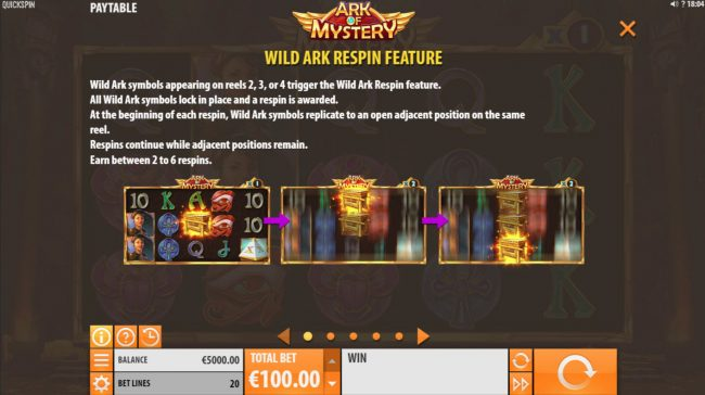 Crystal featuring the Video Slots Ark of Mystery with a maximum payout of $100,000