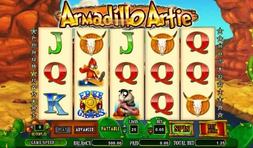 888 Casino featuring the Video Slots Armadillo Artie with a maximum payout of $10,000