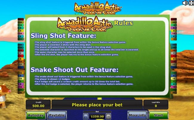 Quasar featuring the Video Slots Armadillo Artie Dash for Cash with a maximum payout of $625,000