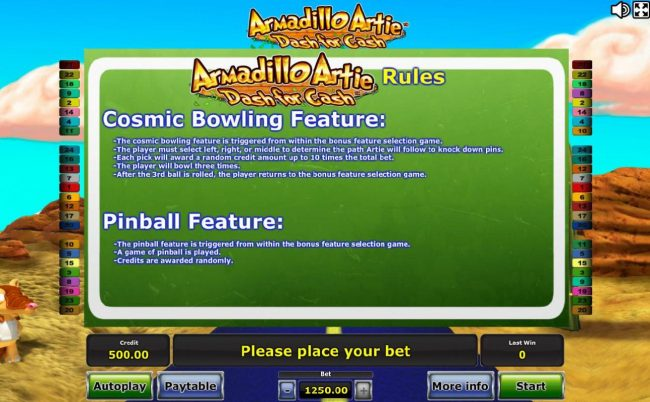 Cosmic Bowling Feature and Pinball Feature Rules