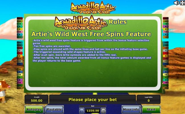 Arties Wild West Free Spins Feature Rules